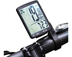 KAZOLEN Wireless Bicycle Computer Bike Speedometer Waterproof LCD Cycling Odometer Multifunction with Extra Large Backlight D