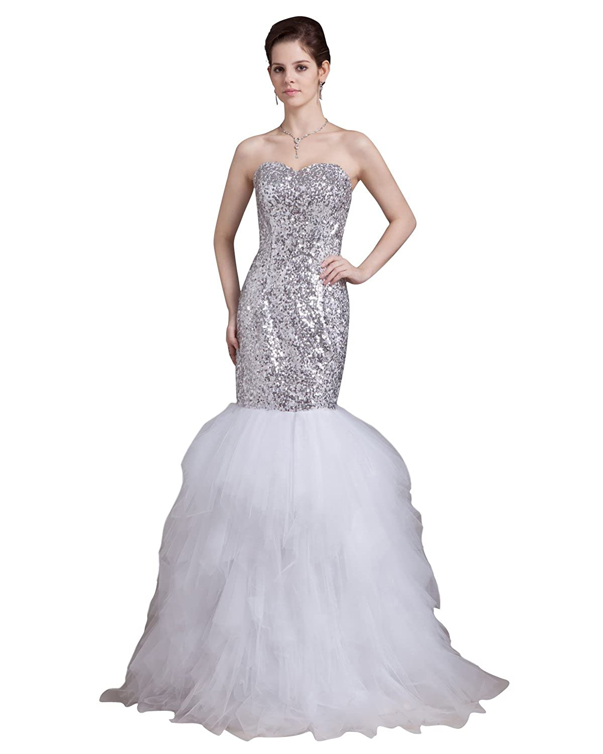 db37fcae91 Vampal Silver And White Mermaid Sweetheart Sequin Bodice Prom Dress With  Ruffle  Amazon.ca  Clothing   Accessories