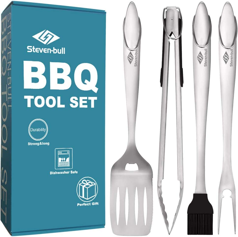 Heavy Duty BBQ Grilling Tool Sets, Extra Thick Stainless Steel Spatula Fork Basting Brush and Tongs, Extra Long Grill Accessories, 18 Inch, Best for Barbecue & Grilling, Gift Box Package, 4 Pack