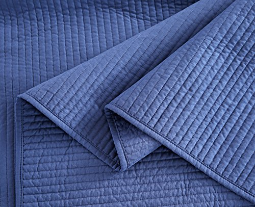 Style Homes 3-Piece Luxury Quilt Set with Sham(s), Ultra Soft Microfiber Bedspread and Coverlet with Half inch Channel Stitch Design, Oversized, King, Blue Indigo by Style Homes (Image #7)