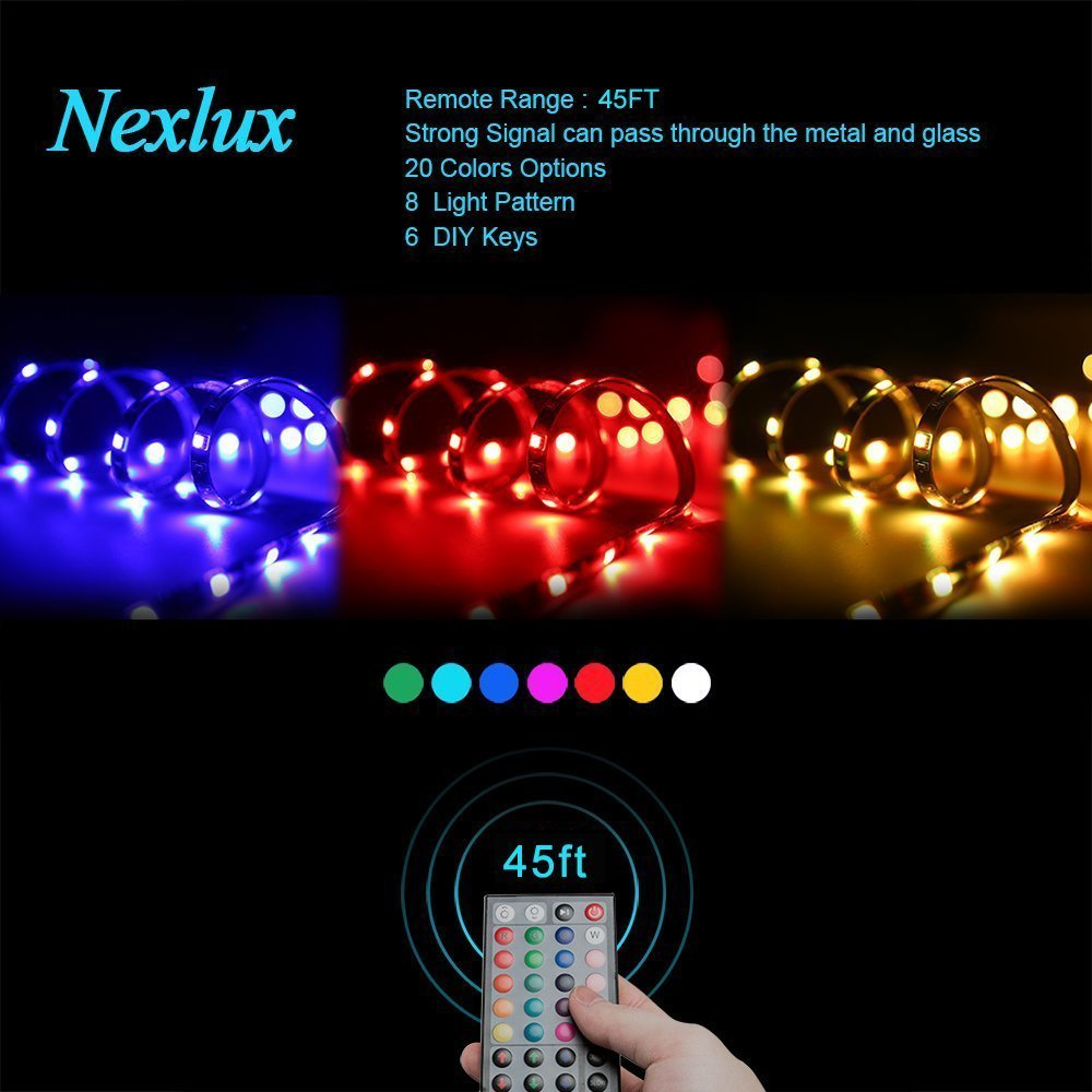 UL Approved Power Adapter LED Strip Lights Nexlux 32.8ft Waterproof IP65 5050 SMD RGB LED Flexible Strip Light Black PCB Board Color Changing Decoration Lighting 44 key RF Controller