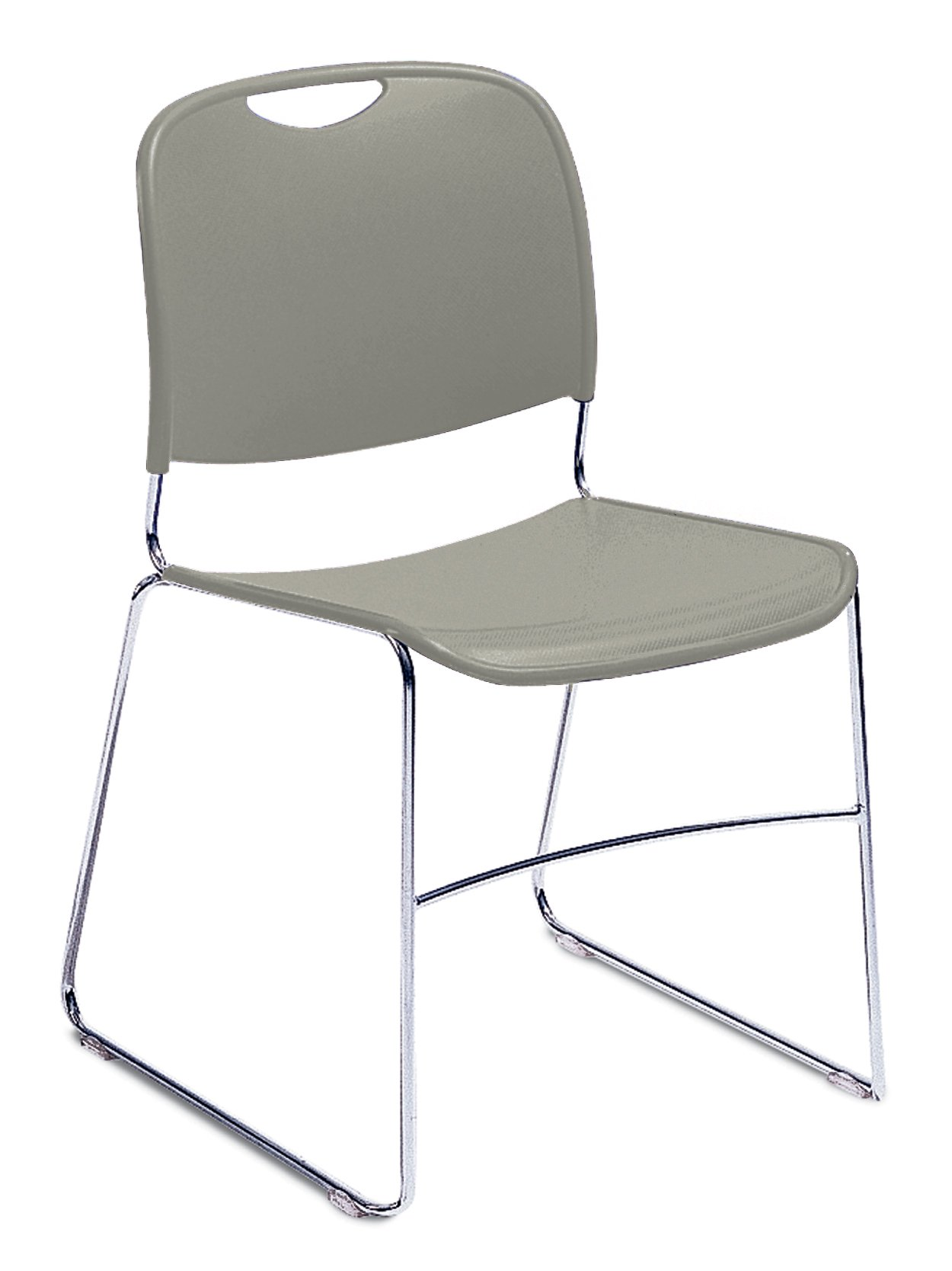 NPS 8502-CN Ultra-compact Plastic Stack Chair, 300-lb Weight Capacity, 17-1/2'' Length x 22-1/2'' Width x 31'' Height, Grey (Carton of 4)