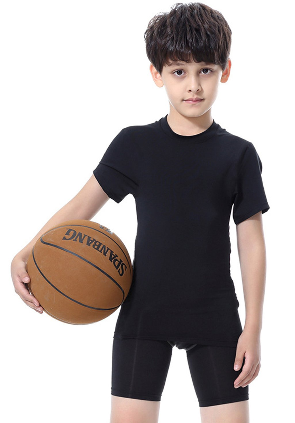 Tailloday Big Boys' 2 Piece Athletic Elastic Dry Fit Compression T-Shirt and Short Set (Black-2 Short, 120)