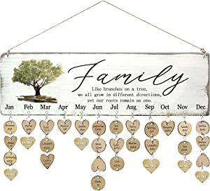 WISIEW Gifts for Grandma Mother from Daughter Unique- Wooden Family Birthday Reminder Tracker Calendar Board, with 110 Wood Tags / Family Like Branches On A Tree, Gift Ideas for Christmas, Birthday, Mother's Day