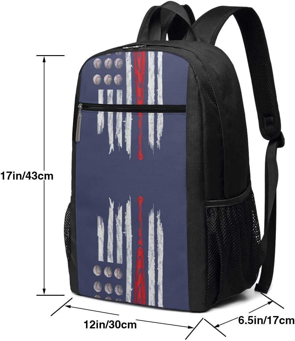 Baseball of US America Flag 17 Inch Laptop Backpack Large Travel Pringting Backpack Computer Business College School Bookbag Water-Repellent Comfy Casual Daypack with Mesh Pockets