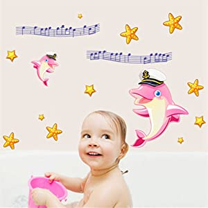 Pink Dolphin Catroon Wall Stickers Children Room Home Decor Baby Adhesive for Kids Room