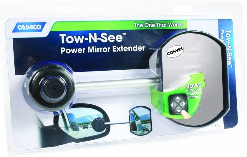 Camco Convex Tow-N-See Mirror -Attach To Existing Car Mirror For Easier Rear Viewing While Towing, Adjusts with Your Power Window Controls , Easy Install and Removal- Passenger Side (25668)