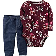 Carter's Baby Girls' 2 Piece Floral Bodysuit And Faux Denim Pants Set 6 Months