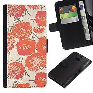 HTC One M8 Modelo colorido cuero carpeta tirón caso cubierta piel Holster Funda protección - Pink Flowers Textile Fabric Pattern