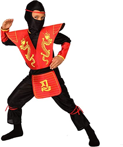 Morph Kids Ninja Costume Childrens Red Kung Fu Dress Up Outfit - Large (Age 9-11)