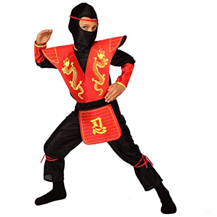Kids Ninja Costume Childrens Red Kung Fu Dress Up Outfit - Medium (Age 6-8)