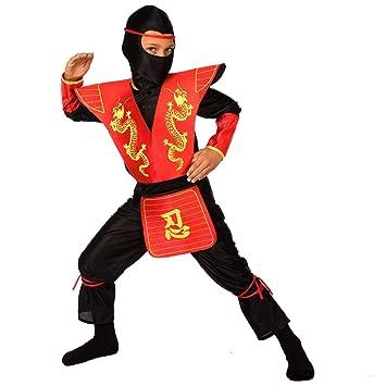 Morph Disfraz de Ninja para niños, Traje de Kung fu Rojo para niños, Mediano (6-8 años)