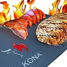 "Kona Best Grill Mat - XL BBQ Grill Mat Covers The Entire Grill - Premium Non-Stick 25""x17"""