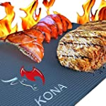 KONA Best BBQ Grill Mat Heavy Duty 600 Degree Non Stick Mats Set of 2 7 Year Warranty