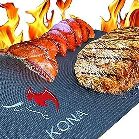 KONA Best BBQ Grill Mat – Heavy Duty 600 Degree Non-Stick Mats (Set of 2) – 7 Year Warranty