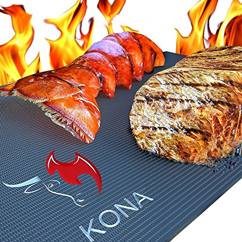 Kona Best BBQ Grill Mat - Heavy Duty 600 Degree Non-Stick Mats (Set of 2) - 7 Year Warranty (Chicken Grilling Charcoal On Grill A)