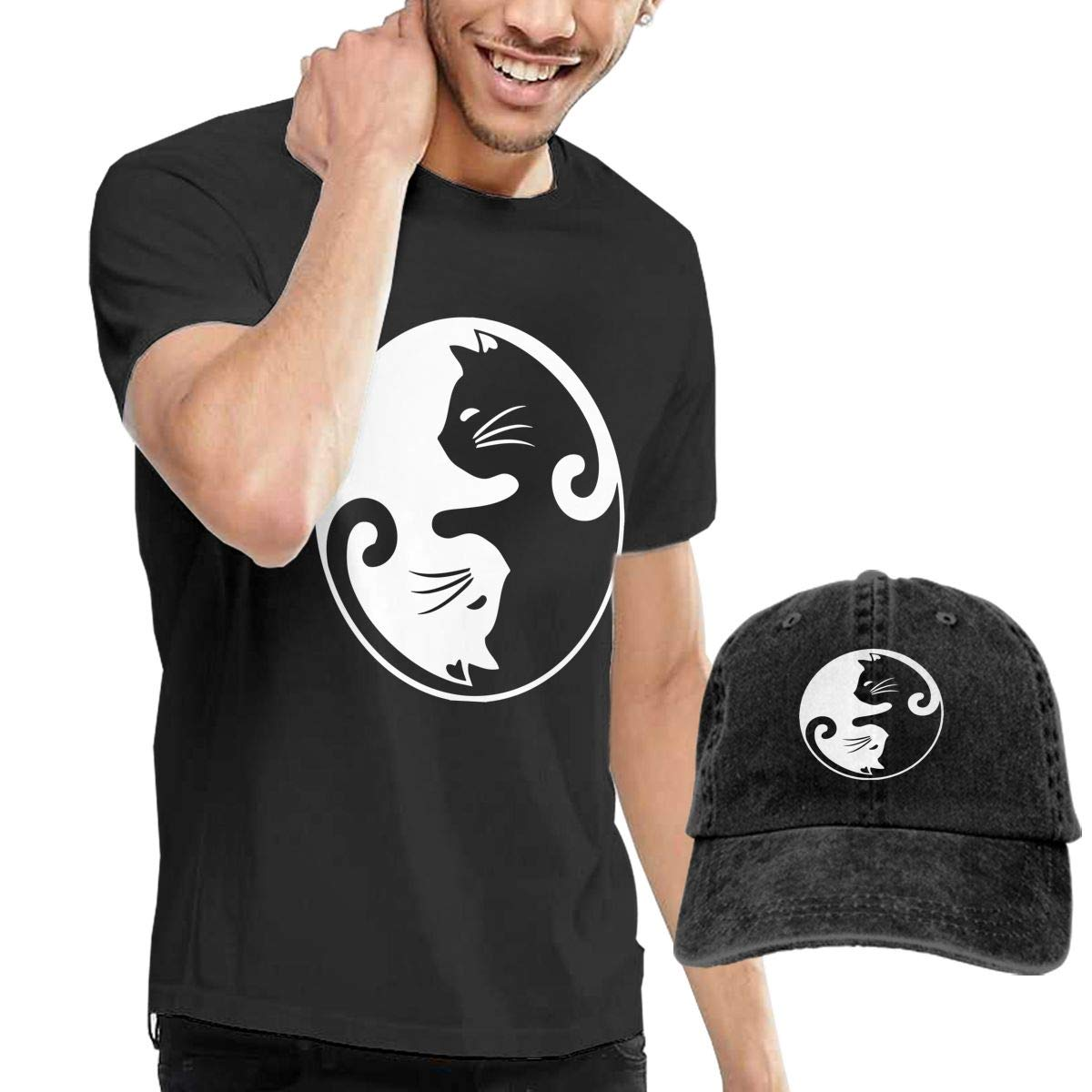 Cat Ying Yang Adult Mens Cool T-Shirts and Fishing Jean Hat