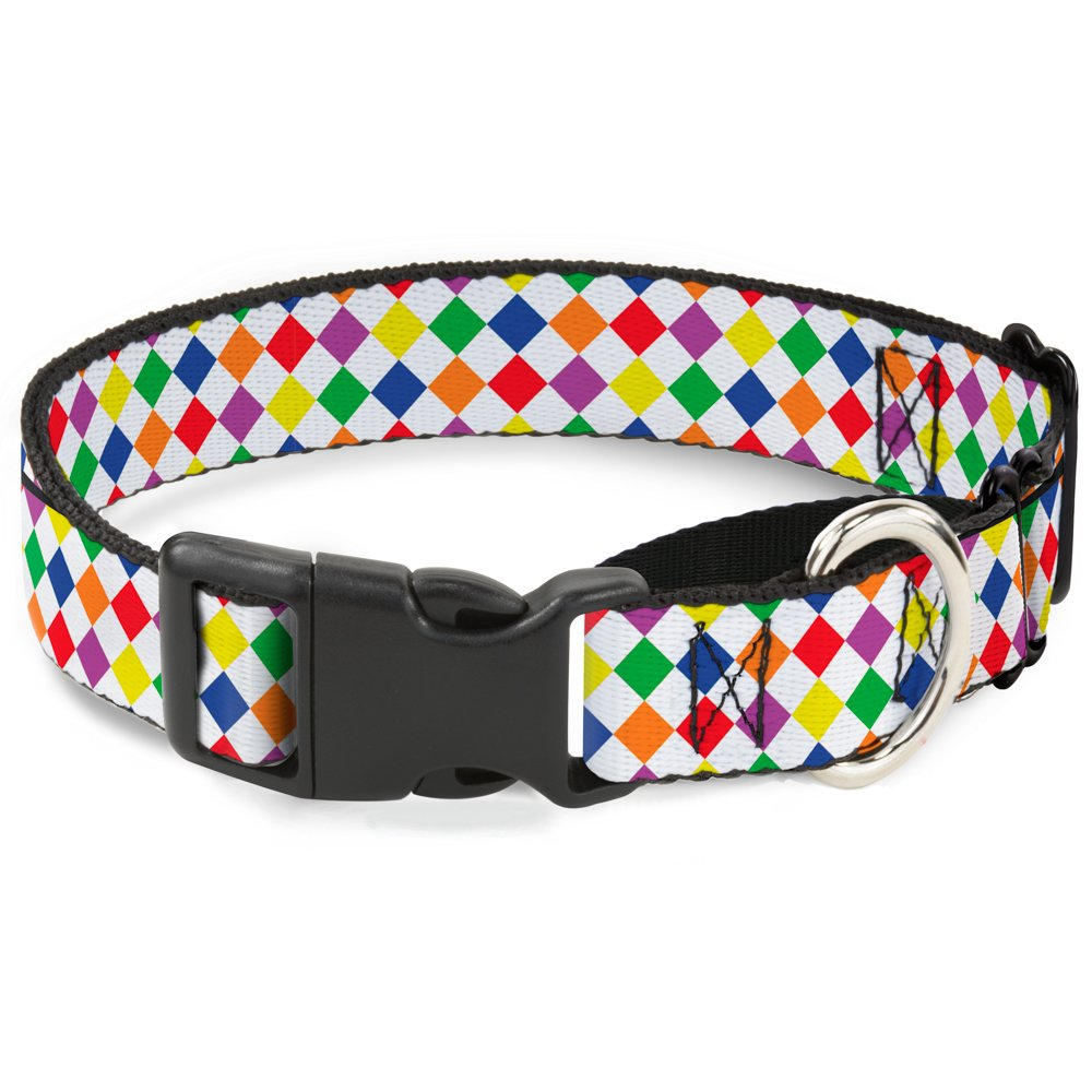 Buckle-Down Diamonds White Multi Neon Martingale Dog Collar, 1  Wide-Fits 15-26  Neck-Large