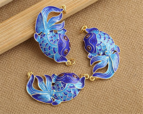 Luoyi 1pc Golden Plated Sterling Silver Enamel Pendant, Carp Sweater Chain, Cloisonne Links, 37*20mm ()
