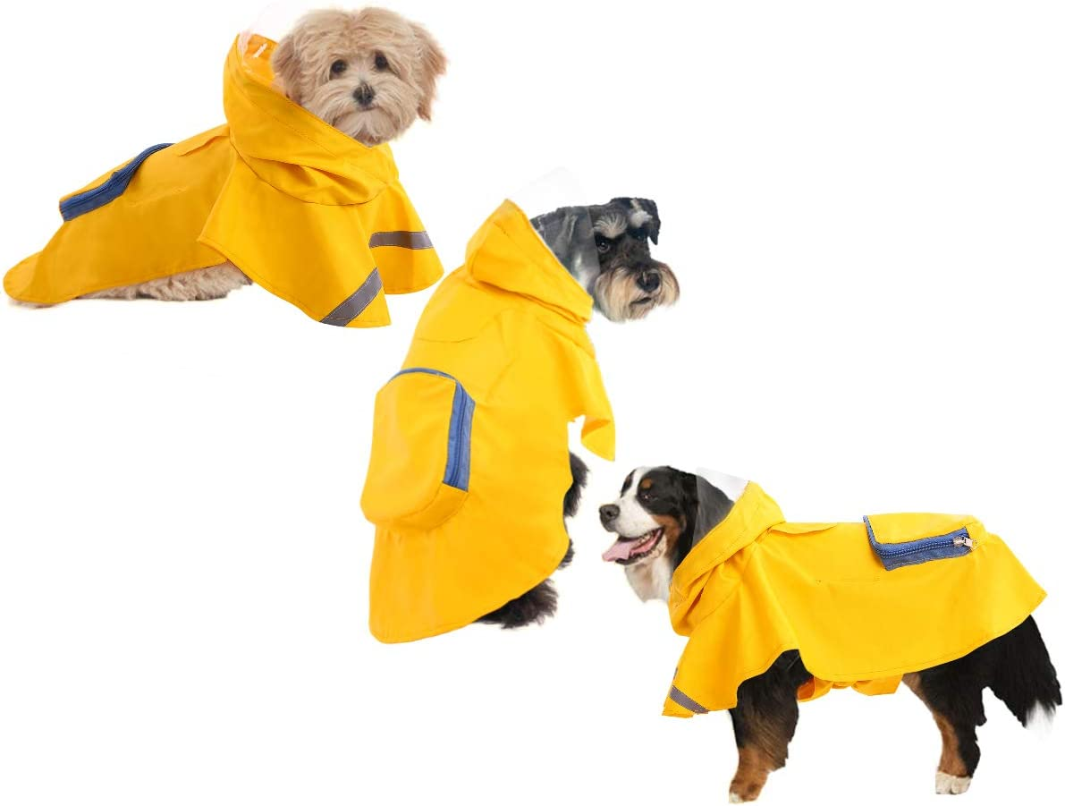 LETSQK Dog Raincoat with Reflective Strips,Pocket,Pet Water Proof Jacket Lightweight Dog Vest Poncho for Small Medium Large Dog,Adjustable Drawing String Hoodie