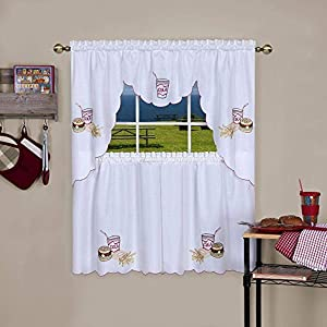 Achim Home Furnishings Fast Food Embellished Tier and Swag Window Curtain Set, 58