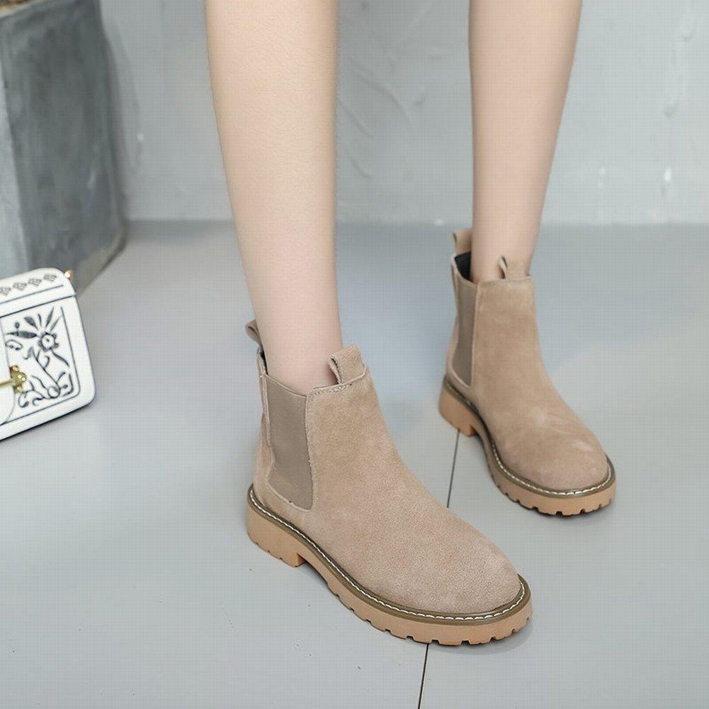 Stiefel Frauen Casual Flache Schuhe British Niedrig Schuhe und Schuhe , Aprikose , 35,5 EUR