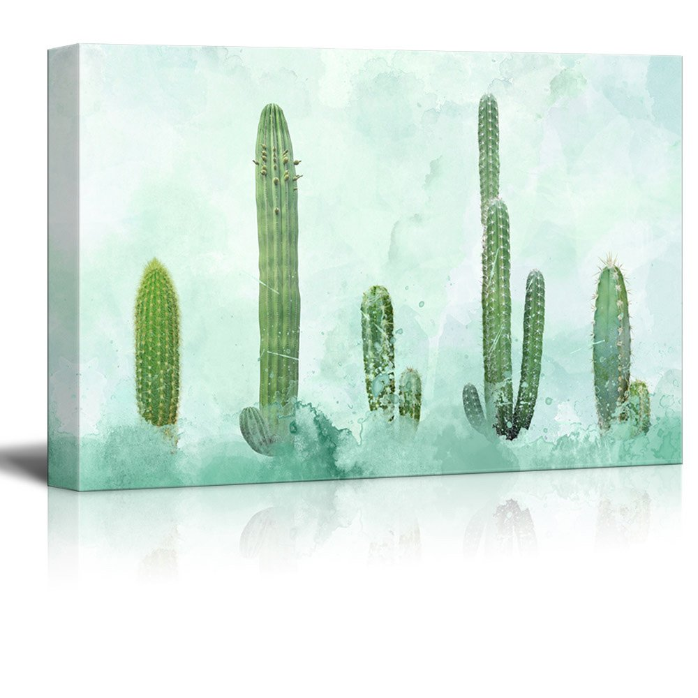 wall26 Canvas Wall Art Cactus on Abstract Watercolor Background