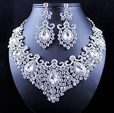 Janefashions Stunning Clear Austrian Rhinestone Crystal Necklace Earrings Set N12187 Silver