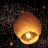 Leadzm 50pcs Flane-resistant Fire Sky Chinese Kongming Lanterns Kit,Delicate Oval Shape White Paper Lantern