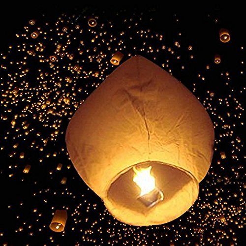 Leadzm 50pcs Flane-resistant Fire Sky Chinese Kongming Lanterns Kit,Delicate Oval Shape White Paper Lantern by LEADZM