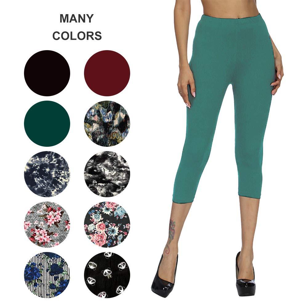 ZOOSIXX Capri Leggings for Women – Extra Soft Printed Floral Capri Pants for Summer (One Size (US 2-12), Medium Teal)