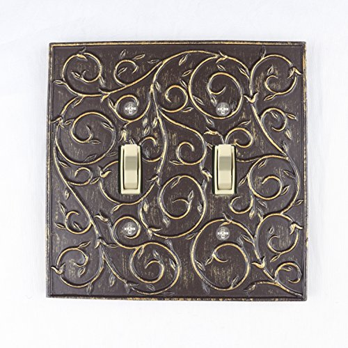 Meriville French Scroll 2 Toggle Wallplate, Double Switch Electrical Cover Plate, Bronze