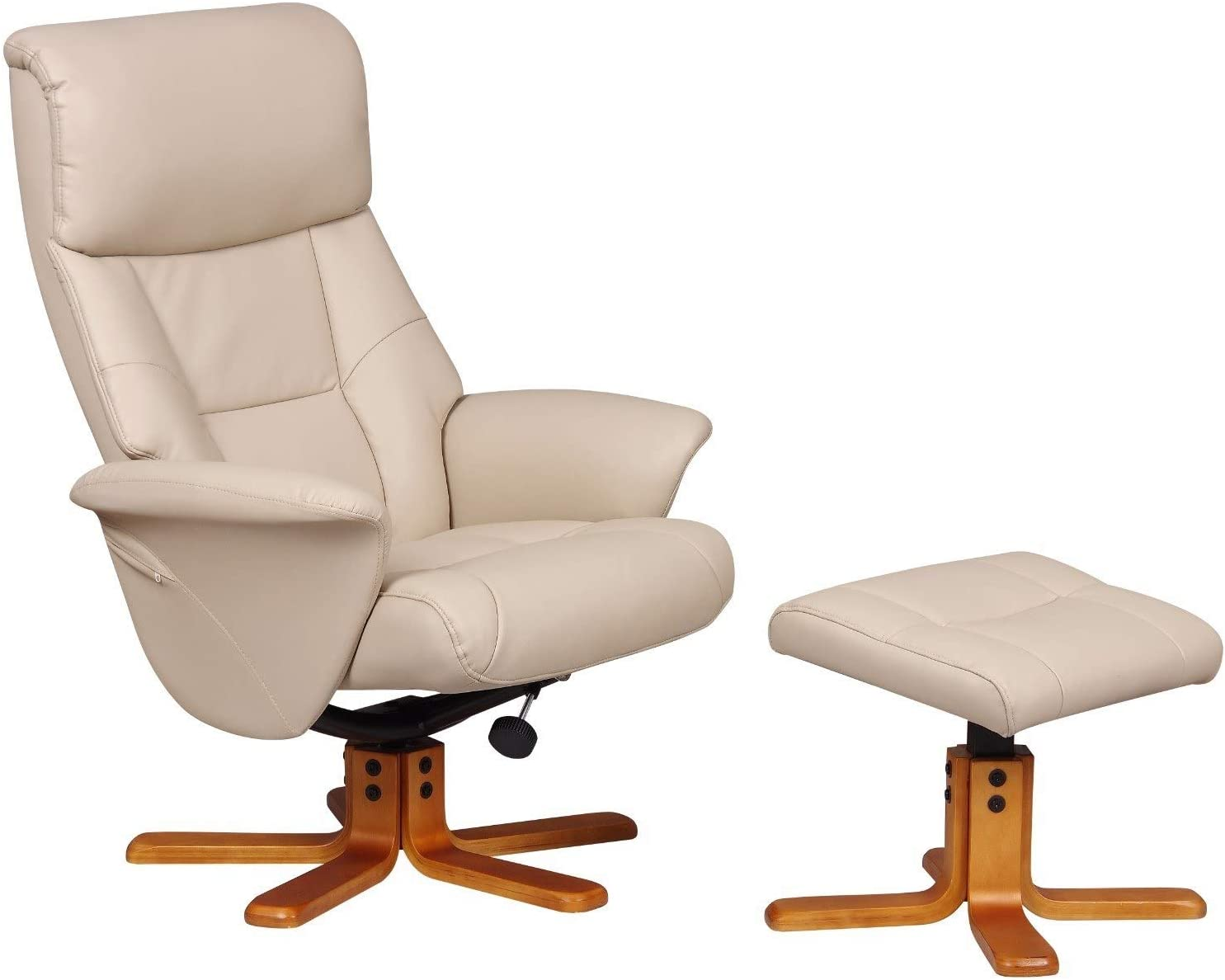 Oak City Marseille FabricFaux Leather Swivel Recliner Chair And Foot Stool Café LatteCherry