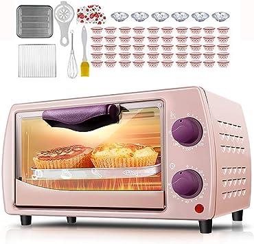 AFDK Mini horno de 9L de doble capa, mini horno eléctrico, convección rotativa, parrilla eléctrica con mango aislado y diseño de disipación de calor, utilizado para preparar pizza, pasteles y pan, ne: