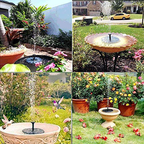 Gocheer Upgraded 1.5W Solar Fountain Water Pump with Battery Backup, Free Standing, Submersible for Bird Bath,Garden, Back Yard and Small Pond