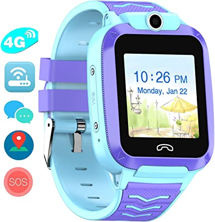 Vowor 4G Kids Smart Watch, WiFi GPS LBS Tracker SOS Emergency Call Video Chatting Children Smartwatches, IP67 Waterproof Phone Watch for Boys Girls, ...