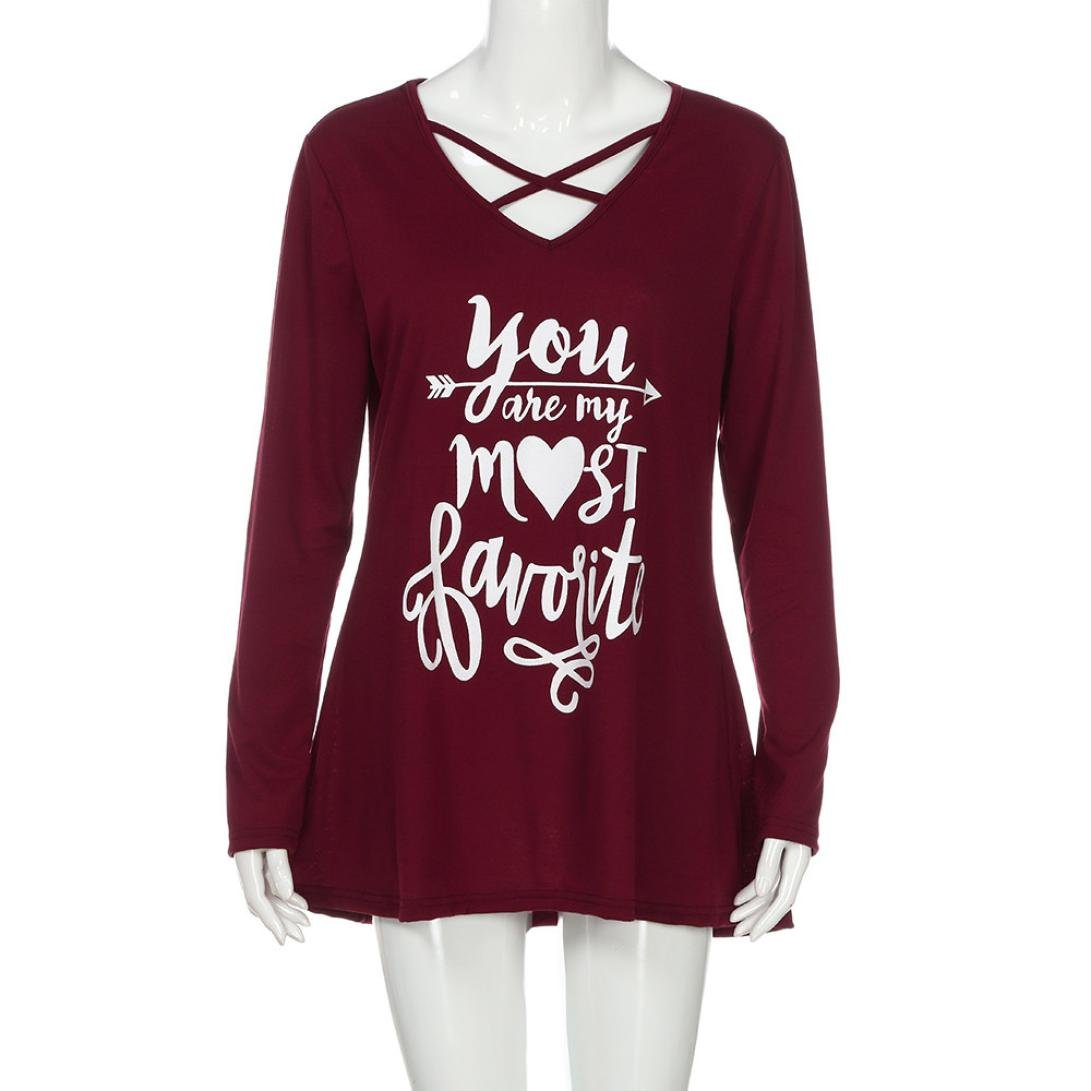 KaiCran Fashion Sweatshirt For Women Letter Valentine's Day Long Sleeve T-Shirt Blouse Top (Red, Large)