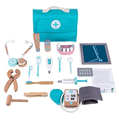 HMANE 18Pcs Wooden Doctor Playset Doctor Toys Dentist Toolbox with Stethoscope, Pretend Play Toys Educational Toy for Kids, Best Gifts: Toys & Games