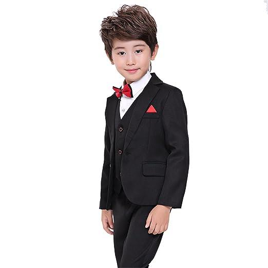 32f1c2b74a1 Gele Boy 4 Pieces Pure Black&Blue Formal Suit,Vest+Pants+Blazer+Bow Tie