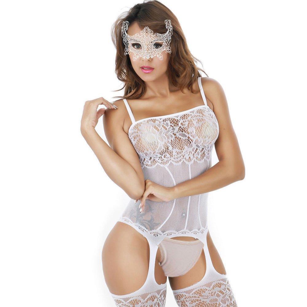 4fdfffd2110 Galleon - White QueensHot Sexy Sheer Lingerie Babydoll Suspender Corset  Nightie Leotard Body Suit Stocking White One Size