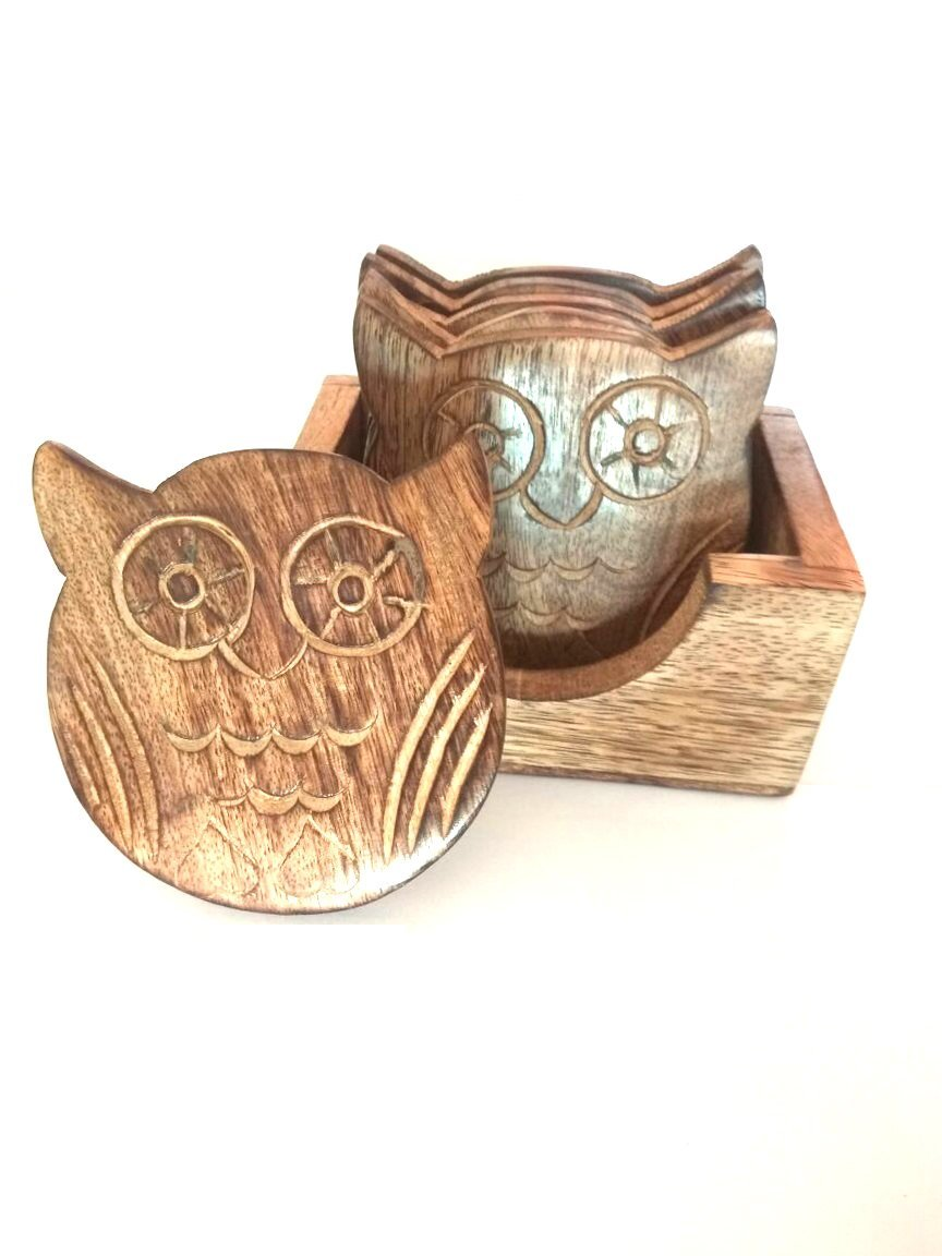 BATRA ASSOCIATES S.B.Arts Owl Design Coasters For Drinks-Hot & Cold/Wooden Coaster Sets With Holder/Dining, Tea & Coffee Table Decorative Cocktail Coasters
