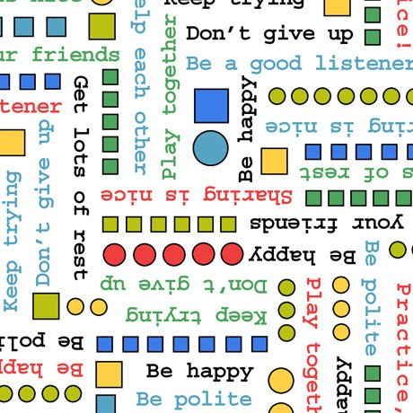 Peanuts Tips from The Gang Phrases and Geometric Confetti White Fabric by The Yard -