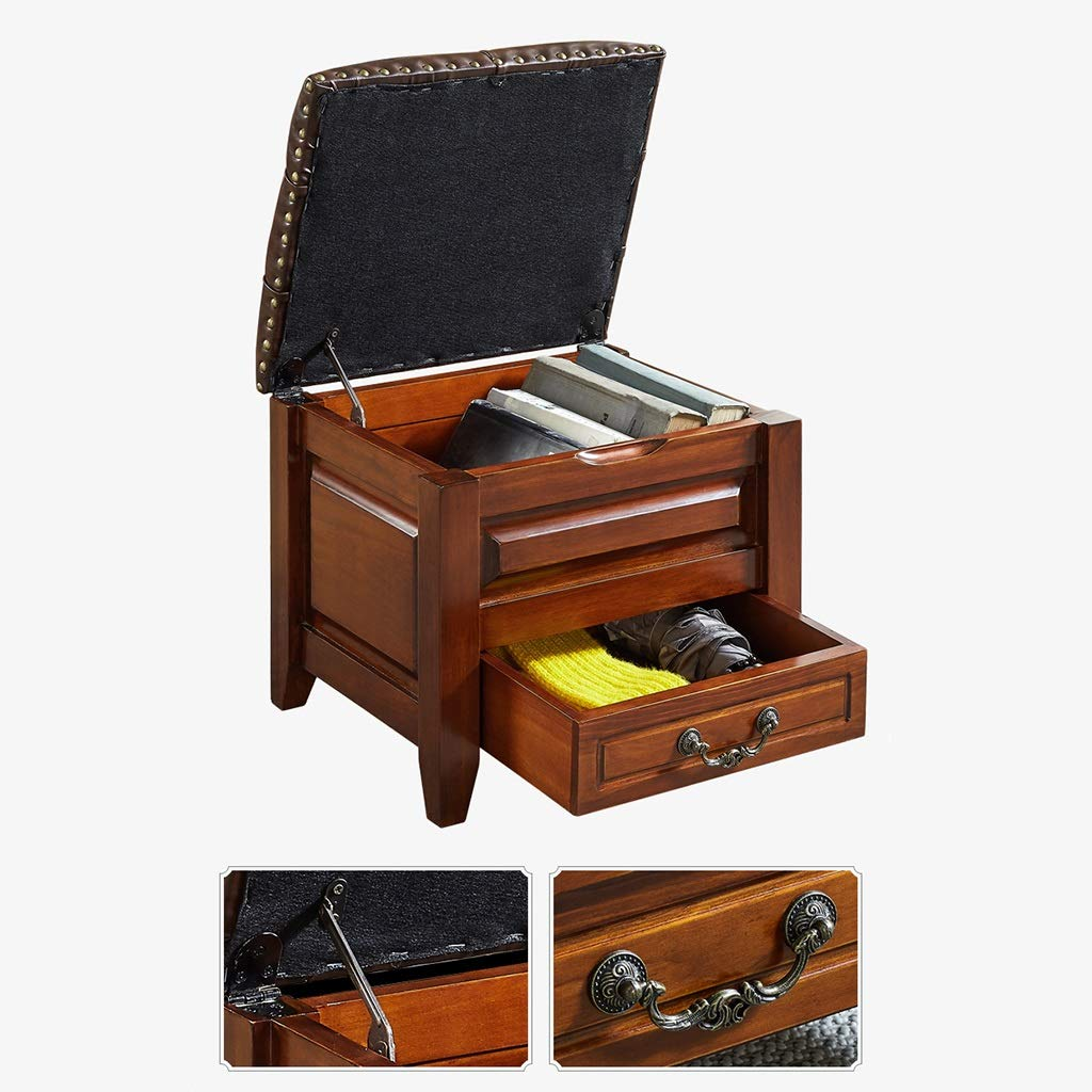 Amazon.com: Pine Storage Stool with Drawer and Leather ...