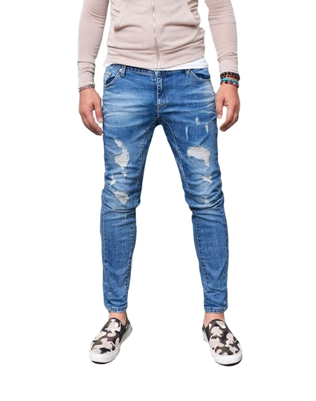 GuyLook Mens Vintage Slim Straight Ankle Biker-Jeans 242