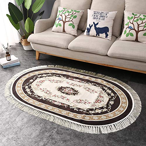 Tassels Accent Rug Runner - Thin Plush Traditional Floral Oriental Oval Rug 3'x5' | High Traffic Hallway Bedroom Living Room Wood Floor Décor | Anti-Skid Stain Fade Resistant Runner Rug, Coffee (Rug Bleach Oval)