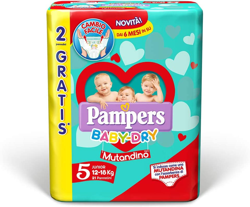 21 couches 12-18 kg Pampers Baby Dry Culotte Junior Taille 5