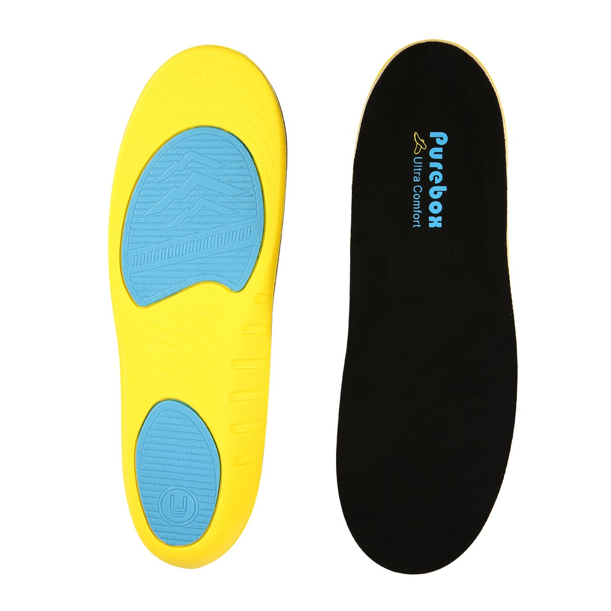 Shoe Insoles Orthotics Shoe Inserts Arch Support Shock Absorption Insoles Comfort Cushioning Gel Heel, Can be Trimmed Full Length (Men's Size:US 8-12)