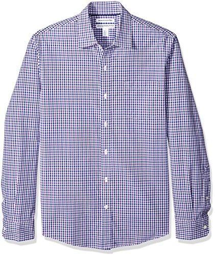 Amazon Essentials Mens Slim-Fit Long-Sleeve Gingham Shirt