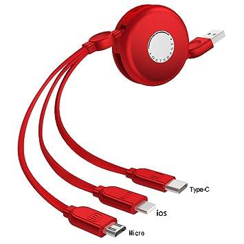 Yehyep Cargador De Cable Multi 3 En 1, Cable De Cargador USB ...