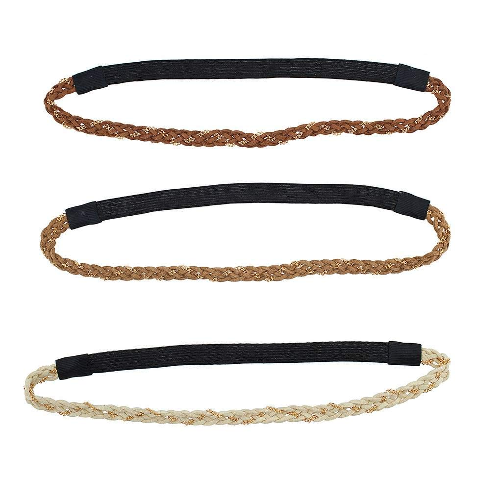 Lux Accessories Glitter Sticker Stone Stretch Headband Headwrap Set (3PCS) H54797-1-H619